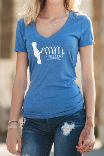Blue Corkscrew Tee - Womens